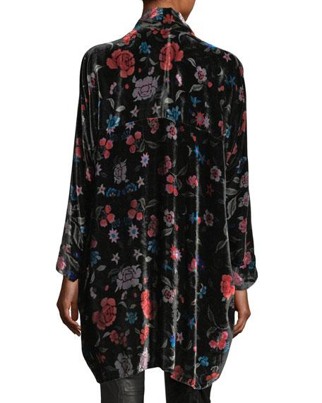 Vella Floral-Print Velvet Kimono