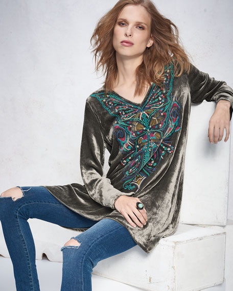 Aurelia Velvet Embroidered Tunic