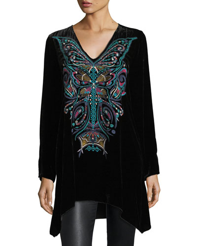 Aurelia Velvet Embroidered Tunic, Plus Size