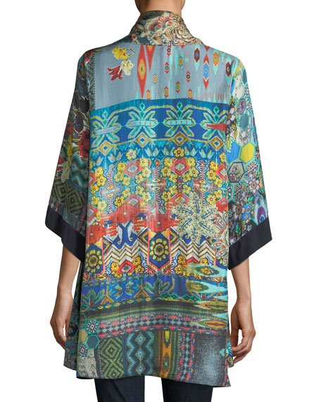 Koben Canvas Embroidered Twill Kimono, Plus Size