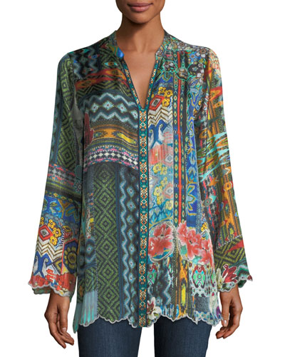 Cane Silk Twill Tunic, Plus Size