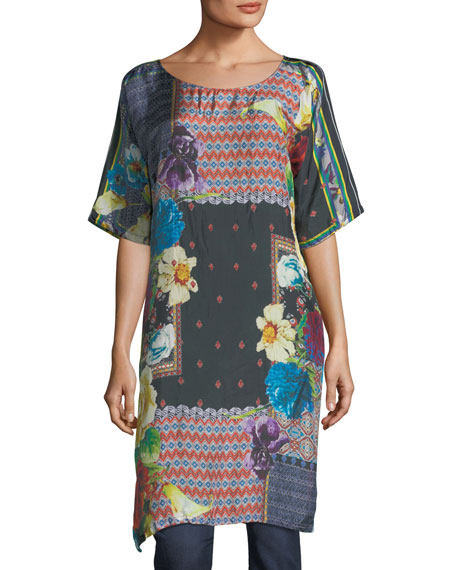 Johnny Was Mabel Long Silk Tunic, Plus Size