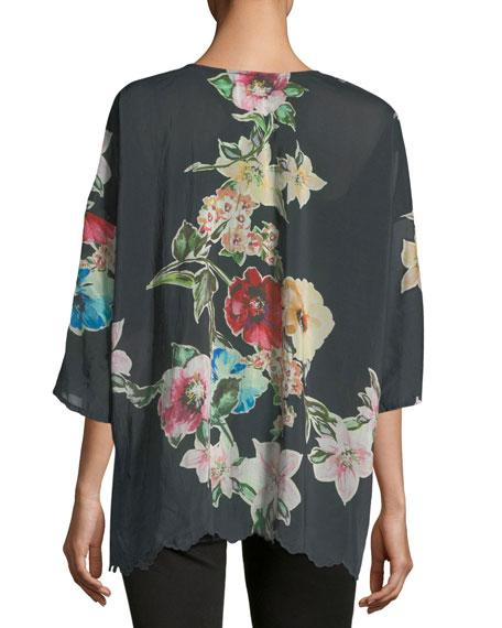Nina Floral-Print Georgette Top, Plus Size