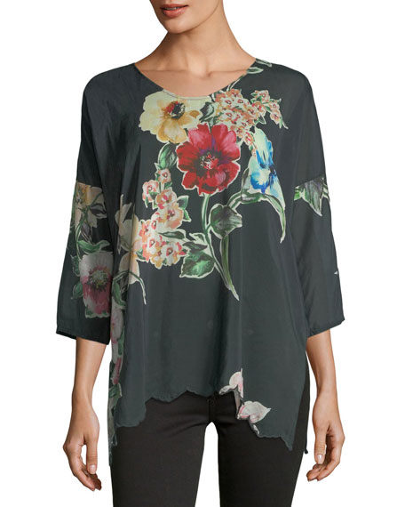 Johnny Was Nina Floral-Print Georgette Top
