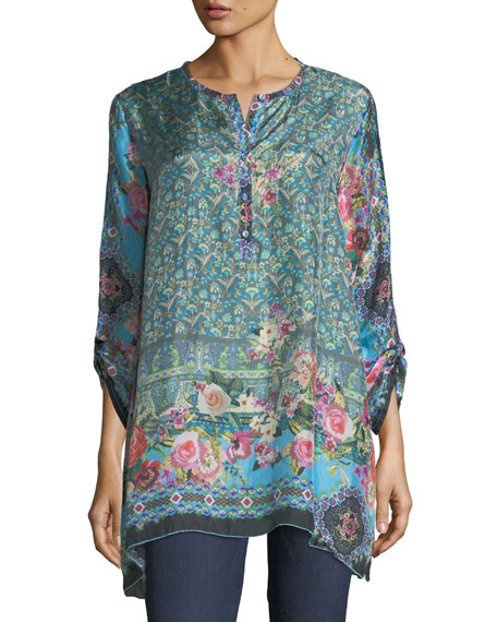 Johnny Was Besimo Silk Embroidered Tunic, Plus Size