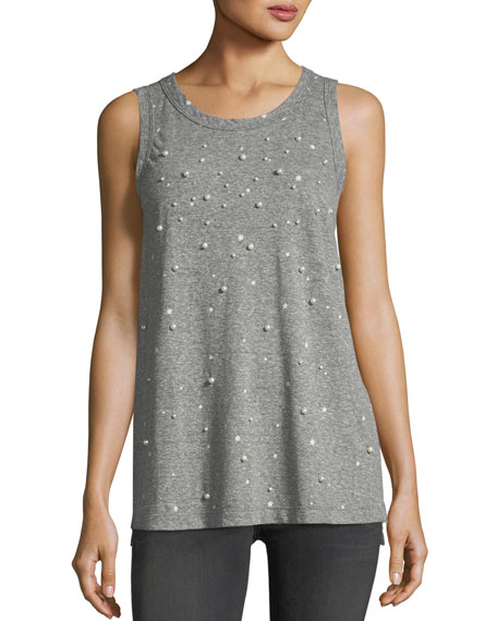 Current/Elliott The Crewneck Muscle Tee with Star Print