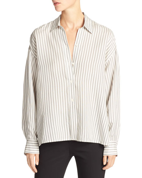Striped Menswear Cropped Silk Shirt, White