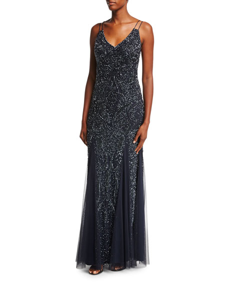 Aidan Mattox Sleeveless Beaded Paisley Chiffon Gown
