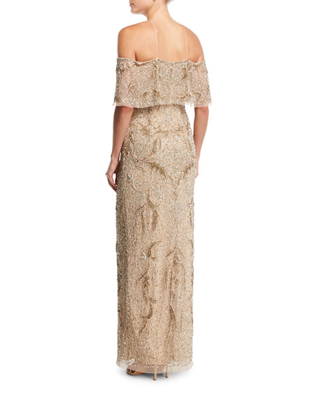 Beaded Off-the-Shoulder Column Gown