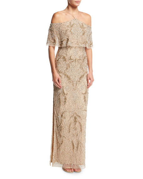 Aidan Mattox Beaded Off-the-Shoulder Column Gown