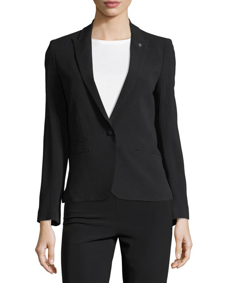 Vedy Single-Button Crepe Blazer