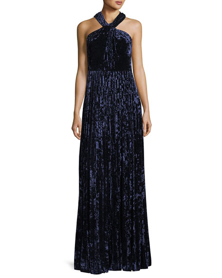 Charla Pleated Velvet Evening Gown