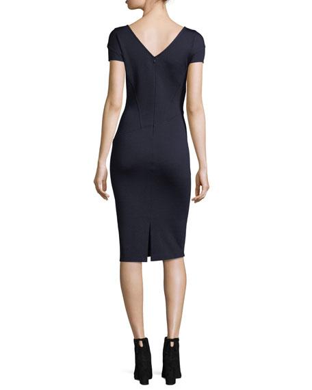Milano Knit Cap-Sleeve Sheath Dress