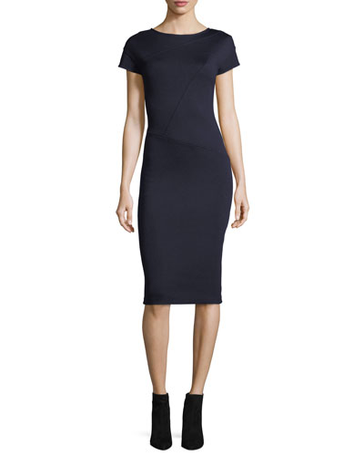 St. John Collection Milano Knit Cap-Sleeve Sheath Dress