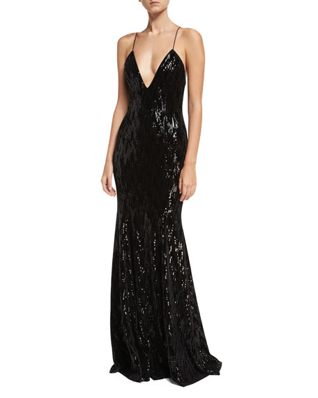 Jay Godfrey Major Deep V-Neck Sleeveless Velvet Sequin