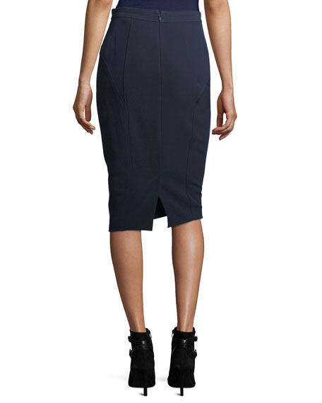 Bella Double-Weave Pencil Skirt