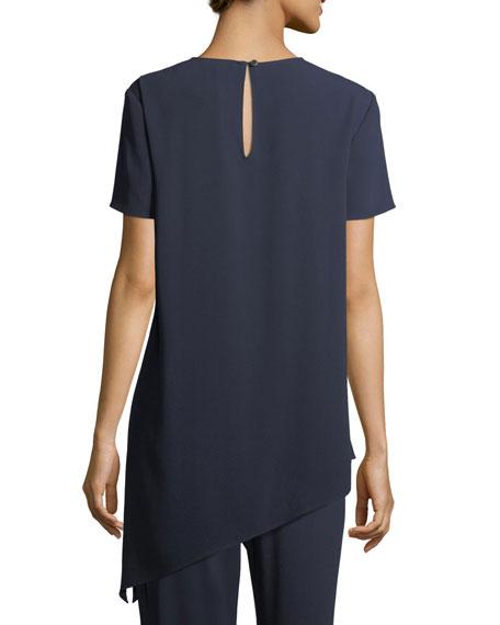 Short-Sleeve Crepe Asymmetric Top