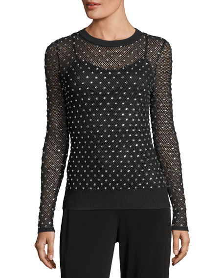 MICHAEL Michael Kors Crystal-Trimmed Mesh Sweater