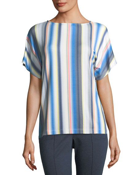 St. John Collection Blurred Multi-Stripe T-Shirt