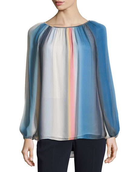 St. John Collection Blurred Striped Top