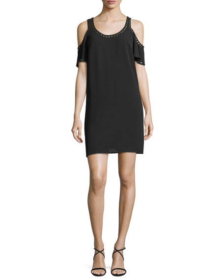 Studded-Trim Cold-Shoulder Dress