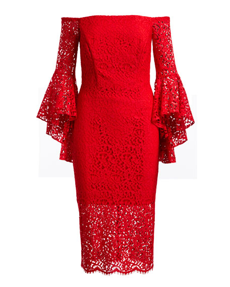 Selena Lace Off-the-Shoulder Cocktail Dress
