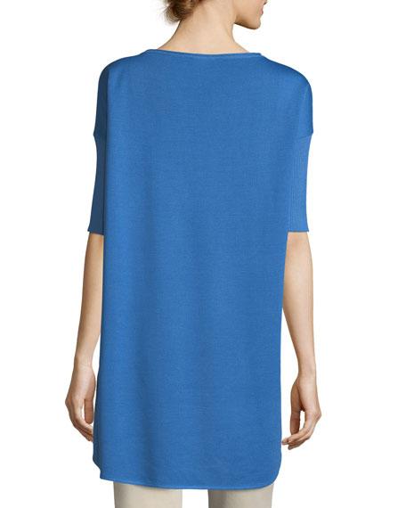 Half-Sleeve Wool-Blend Tunic