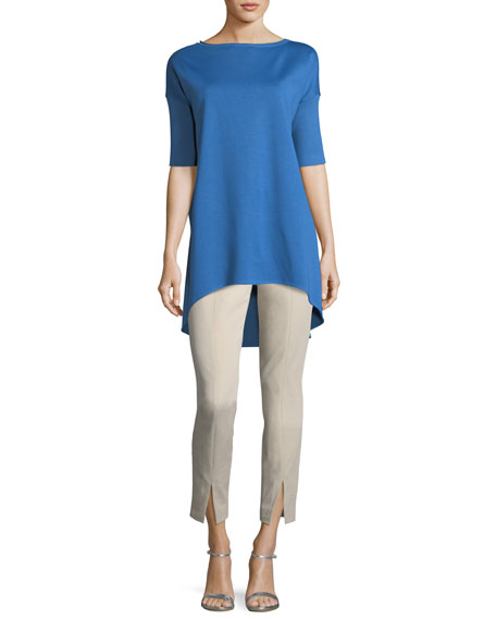 Half-Sleeve Wool-Blend Tunic