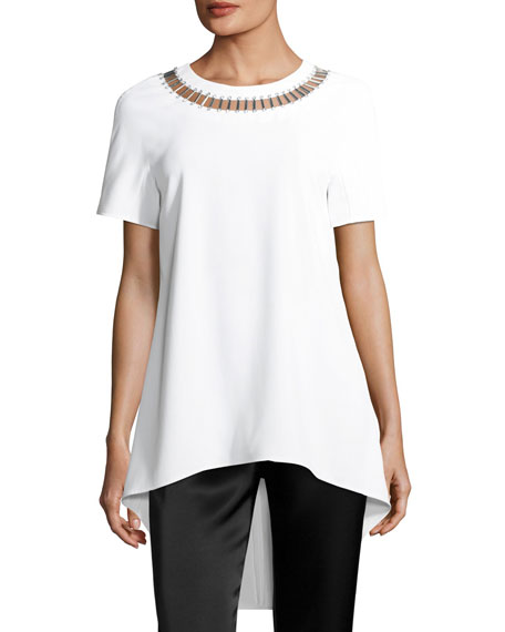 Embellished-Neck High-Low Top