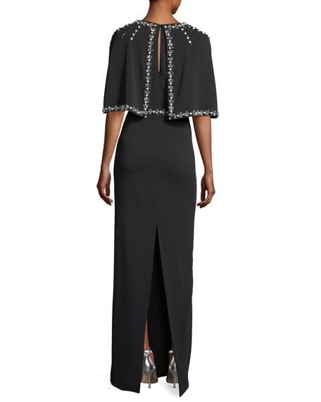 Hand-Beaded Stretch Cady Column Gown w/ Cape
