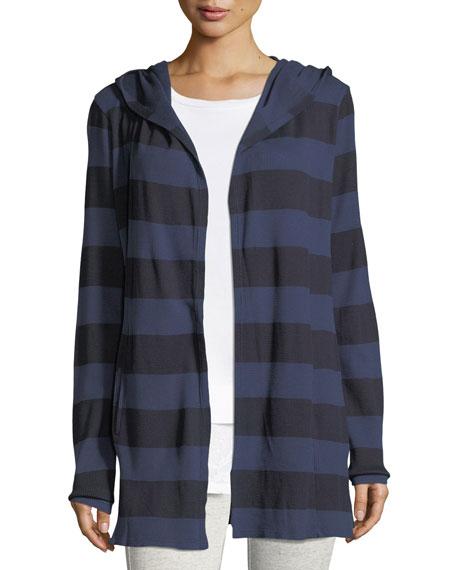 Allen Allen Striped Hooded Open-Front Cardigan