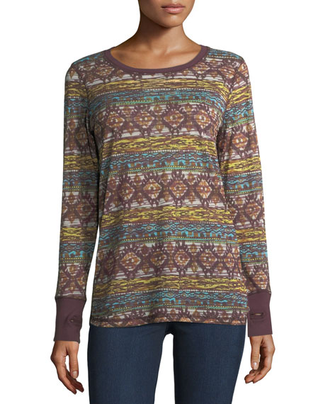 Thumbhole-Cuff Long-Sleeve Top