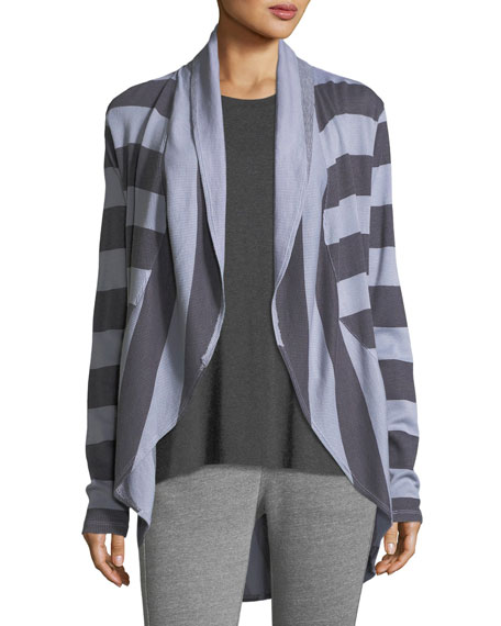 Allen Allen Striped Open-Front Circle Cardigan