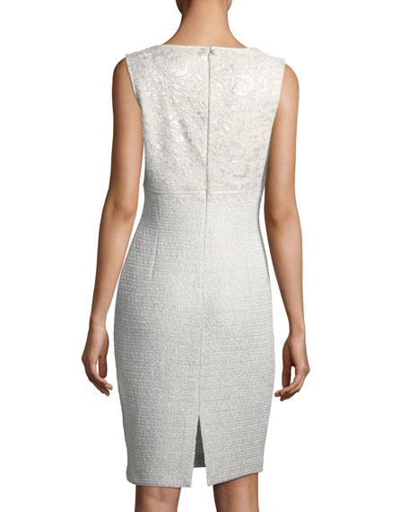 Soft Metallic V-Neck Cocktail Sheath Dress