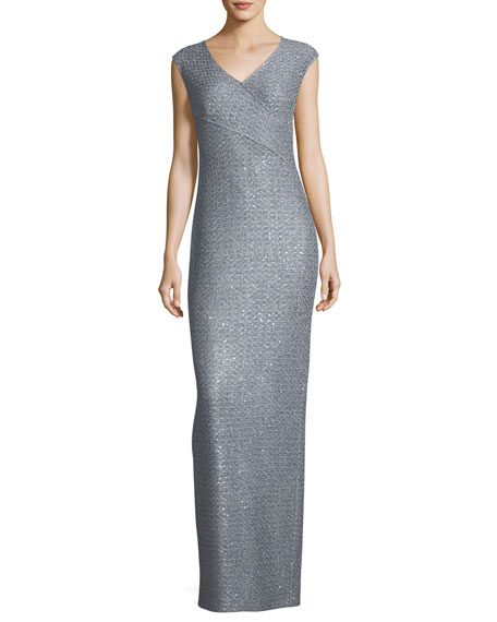 Metallic Sequined Knit Column Gown