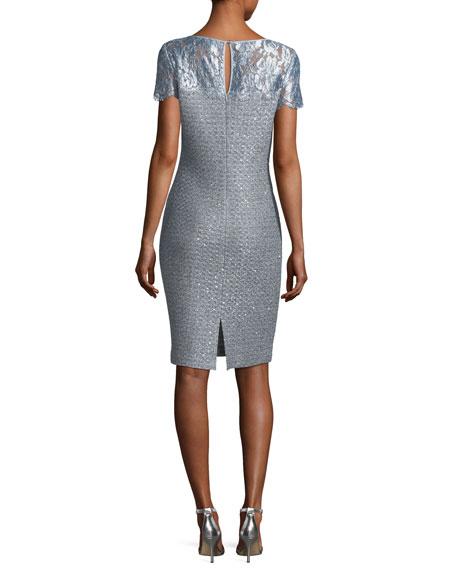 Metallic Sequined Knit Cocktail Sheath Dress
