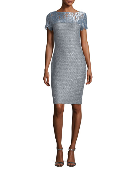 St. John Collection Metallic Sequined Knit Cocktail Sheath