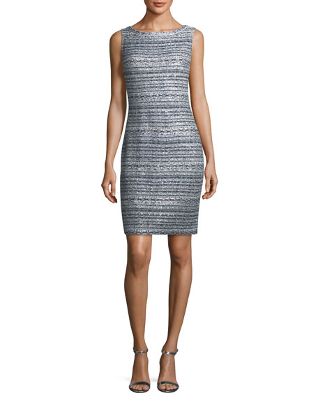 Lacquered Metallic Ribbon Cocktail Sheath Dress