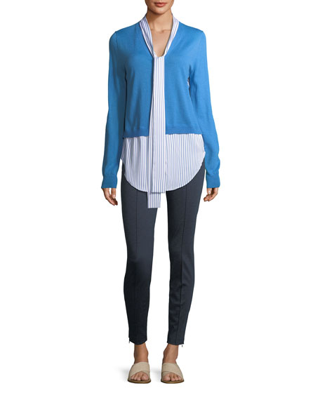 Jersey Knit V-Neck Cardigan