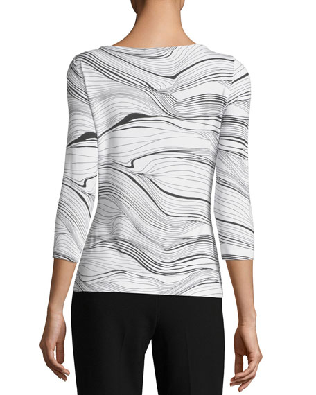 Brush Stroke Printed Jersey T-Shirt