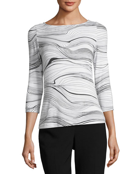 St. John Collection Brush Stroke Printed Jersey T-Shirt