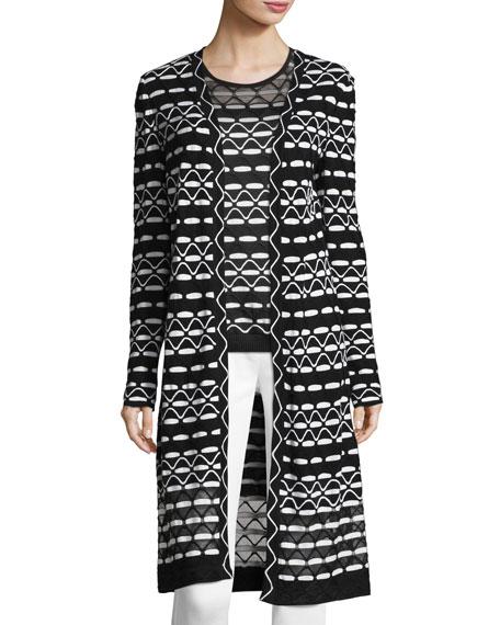 Textural Wave-Knit Maxi Cardigan