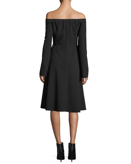 Off-the-Shoulder Ruched-Sleeves Crepe Midi Dress