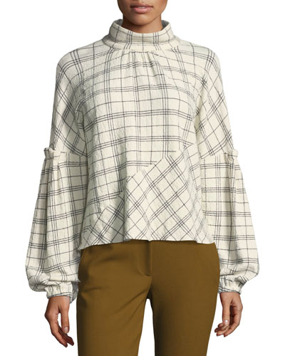 Mock-Neck Pouf-Sleeve Check Wool-Blend Top