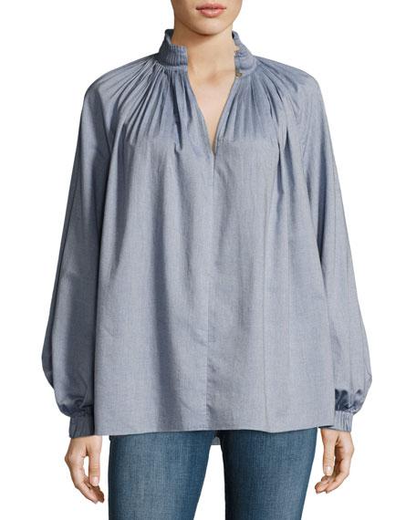 Edwardian Blouson-Sleeve Pleated Chambray Top