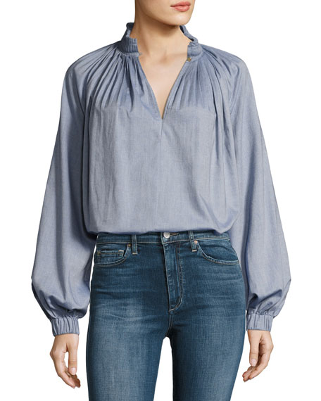 Edwardian Blouson-Sleeve Pleated Chambray Top