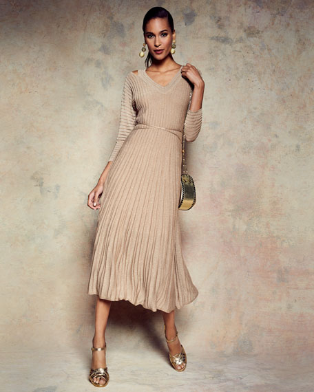 Open-Shoulder Shimmer Pleated Midi Dress