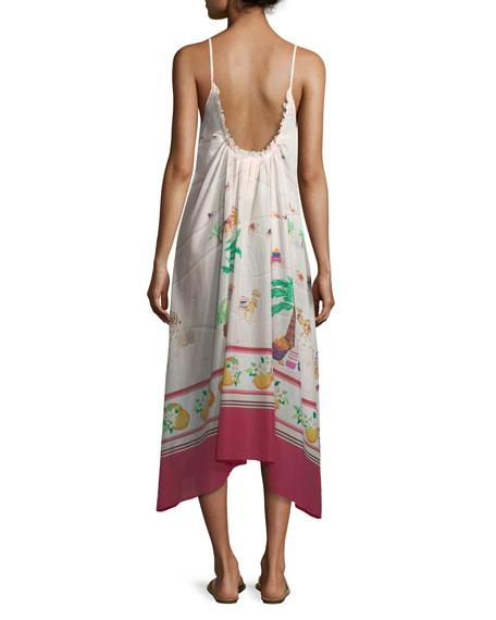 camel-print maxi coverup dress