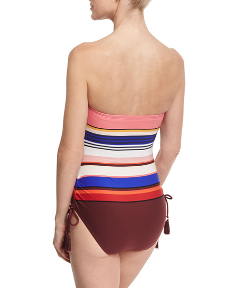 striped ruched-side bandeau one-piece swimsuit, pink