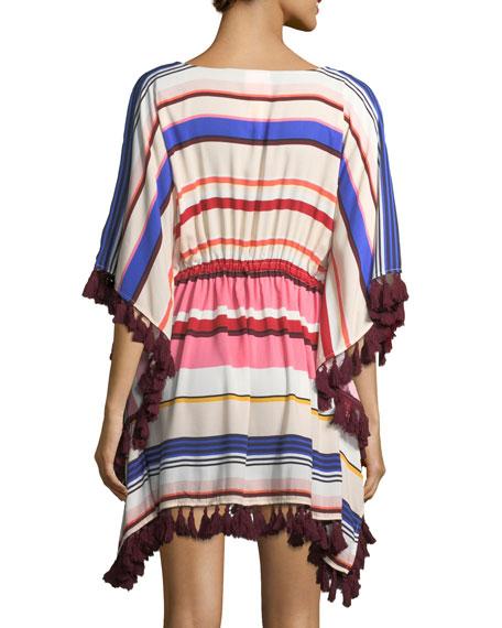 striped caftan coverup with tassel trim